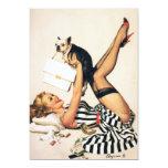 Chica del Pin-para arriba del amante del perrito - Invitación 12,7 X 17,8 Cm