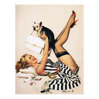 Chica del Pin-para arriba del amante del perrito - Postal