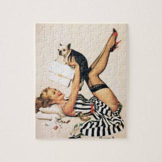 Chica del Pin-para arriba del amante del perrito - Puzzle