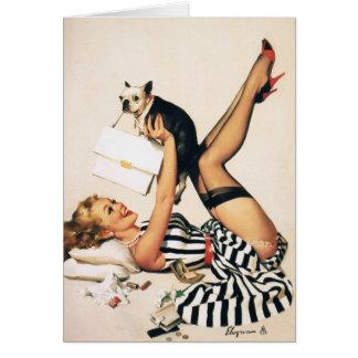 Chica del Pin-para arriba del amante del perrito - Tarjeton