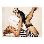 Chica del Pin-para arriba del amante del perrito - Tarjetas Postales