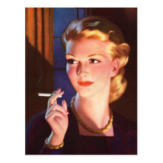 Chica del Pin-Para arriba del cigarrillo del Postal