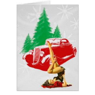 Chica del Pin-Para arriba del navidad y coche clás Tarjeta De Felicitación