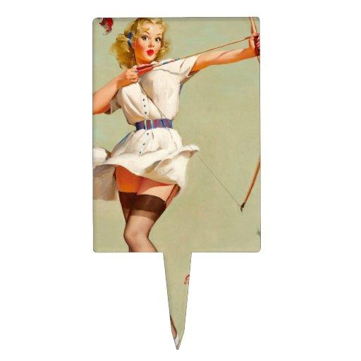 Chica del Pin-Para arriba del tiro al arco Figura Para Tarta
