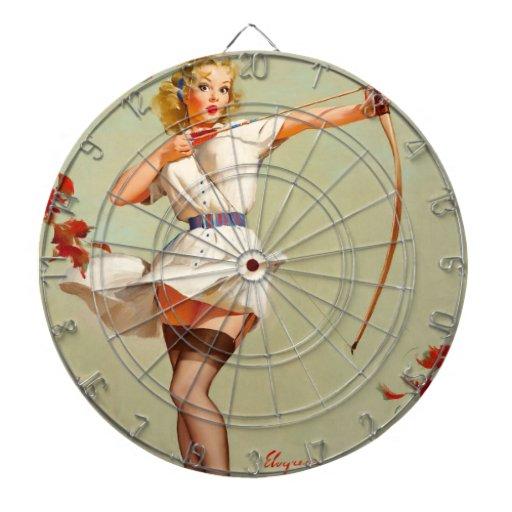 Chica del Pin-Para arriba del tiro al arco Tablero Dardos