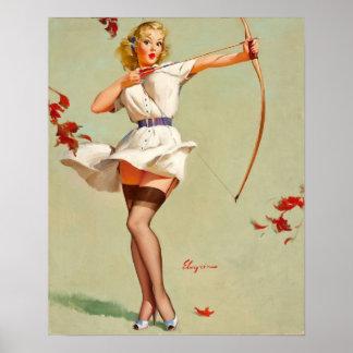 Chica del Pin-Para arriba del tiro al arco Póster