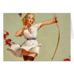 Chica del Pin-Para arriba del tiro al arco Tarjeta