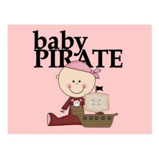 Chica del pirata del bebé con las camisetas y los postal
