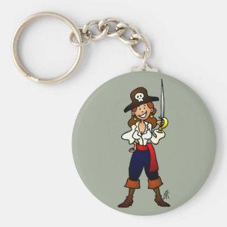Chica del pirata llavero redondo tipo pin