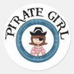 Chica del pirata pegatinas redondas