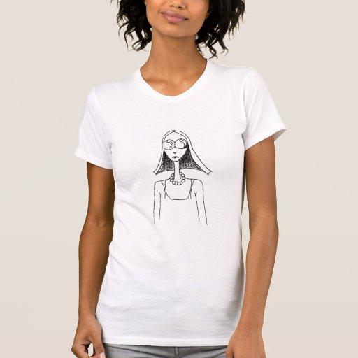 Chica del polluelo del Hippie con las gafas de sol T Shirts