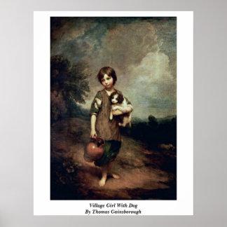 Chica del pueblo con el perro de Thomas Gainsborou Impresiones