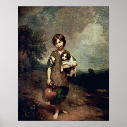 Chica del pueblo con el perro de Thomas Gainsborou Posters
