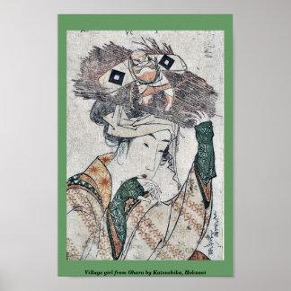 Chica del pueblo de Ohara por Katsushika, Hokusai Posters