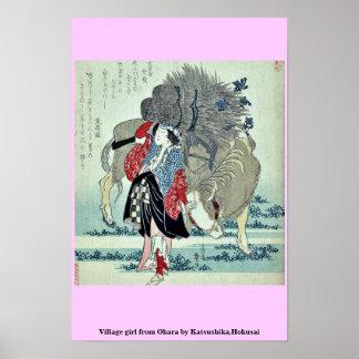 Chica del pueblo de Ohara por Katsushika, Hokusai Poster
