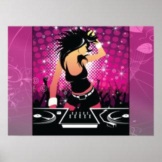 Chica del Raver que baila a DJ Posters