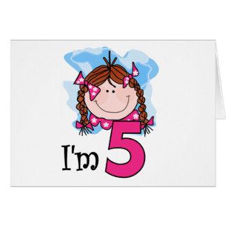 Chica del Redhead soy cinco Tarjeta De Felicitación