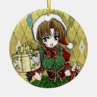 Chica del regalo del animado adorno navideño redondo de cerámica