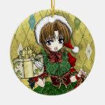 Chica del regalo del animado ornamento para reyes magos