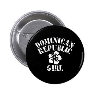 Chica del rosa de la República Dominicana Pin Redondo De 2 Pulgadas