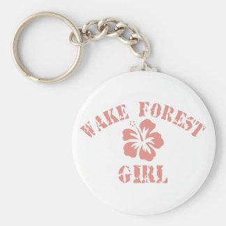 Chica del rosa del bosque de la estela llavero redondo tipo pin