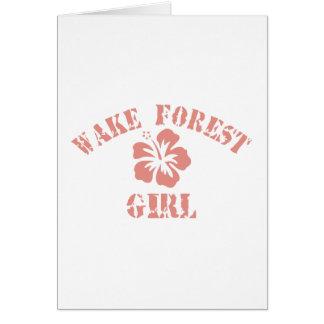 Chica del rosa del bosque de la estela tarjeta de felicitación