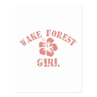 Chica del rosa del bosque de la estela postal