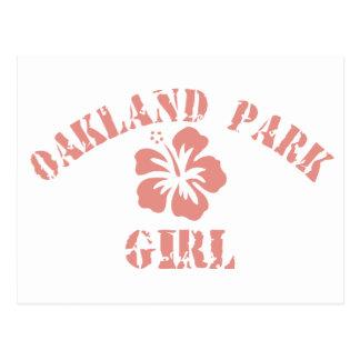 Chica del rosa del parque de Oakland Postal