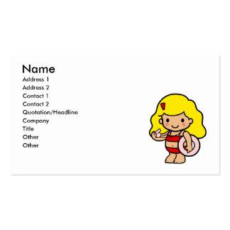 Chica del salvavidas tarjetas de visita