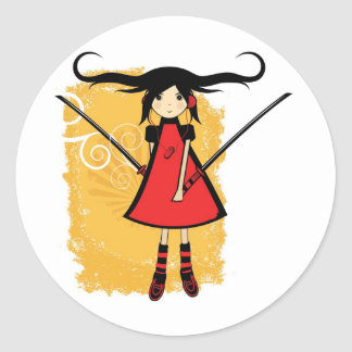 Chica del samurai pegatina redonda