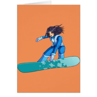 Chica del Snowboarder de Manga Tarjeta De Felicitación