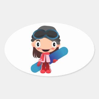 Chica del Snowboarder del dibujo animado Calcomanías De Ovales