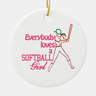 Chica del softball adorno navideño redondo de cerámica