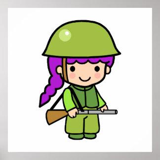 Chica del soldado impresiones