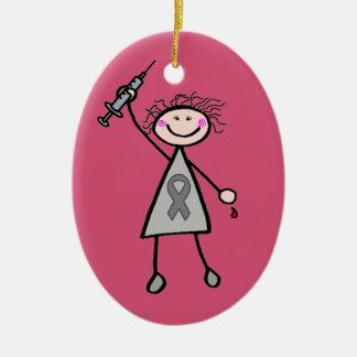 Chica del super héroe de la insulina de la adorno navideño ovalado de cerámica