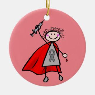 Chica del super héroe de la insulina de la adorno navideño redondo de cerámica