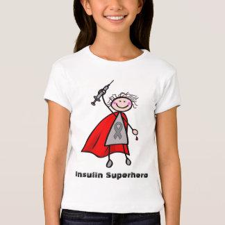 Chica del super héroe de la insulina de la remeras
