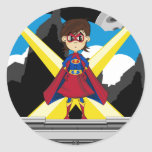 Chica del super héroe en tejado pegatinas redondas