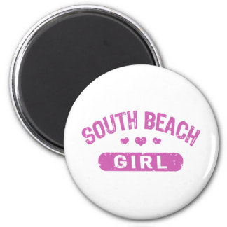 Chica del sur de la playa imán para frigorífico