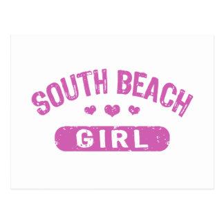 Chica del sur de la playa tarjetas postales