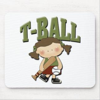 Chica del T-Ball Alfombrillas De Ratón