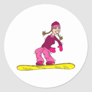 Chica del tablero de la nieve pegatinas