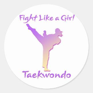 Chica del Taekwondo Etiqueta Redonda