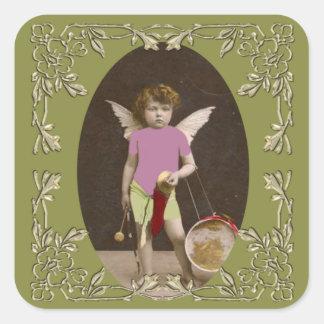 Chica del tambor del ángel colcomanias cuadradas