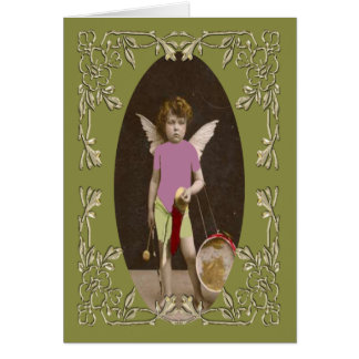 Chica del tambor del ángel felicitación