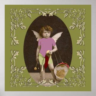 Chica del tambor del ángel impresiones