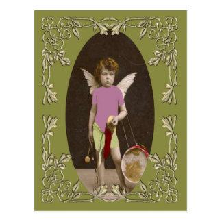 Chica del tambor del ángel postal