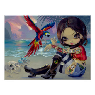 Chica del tatuaje del pirata de la IMPRESIÓN del A