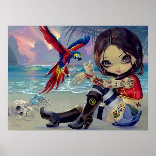 Chica del tatuaje del pirata de la IMPRESIÓN del A Poster