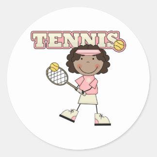 Chica del tenis, afroamericano etiquetas redondas